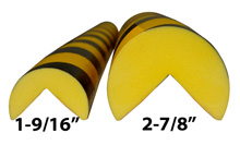 "Protective Corner Bumper Guard - Round, 2-7/16"" x 39-3/8"", Self-Adhesive, Black & Yellow"