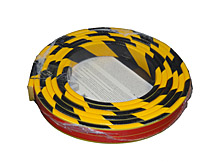 Flat Surface Bumper Guard - Flat, 1-9/16 in. x 7/16 in. x 16 ft. Roll, Self-Adhesive, Black & Yellow