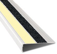 Extruded Aluminum Stair Nosing, 2-5/8 in. x 1-1/8 in. x 4 ft. - 90° Angle, w/ Photoluminescent Aluminum Anti-Slip & Black Slip-Resistant Tape Inserts