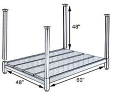 48W x 60L x 48H Wood Deck Portable Stacking Rack - 4,000 lbs. cap.
