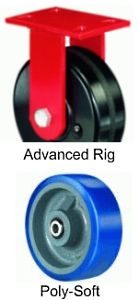"Advanced Duty Rigid Caster - 8"" x 3"" Poly-Soft Wheel, 2000 lbs Cap., Ball Bearing"
