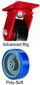 "Advanced Duty Swivel Caster - 8"" x 3"" Poly-Soft Wheel, 2000 lbs Cap., Tapered Bearing"