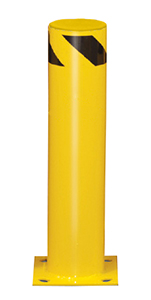 "Steel Bolt-Down Bollard, 36""H, 6-1/2"" dia., Yellow with Black Stripe"