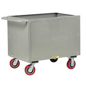 "4-Sided Solid Box Truck - Low Profile, 24"" x 48"" Deck, 6"" Poly Casters"