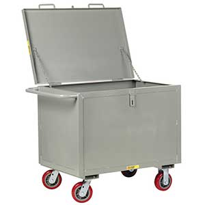 "4-Sided Solid Box Truck - Low Profile with Lid, 24"" x 36"" Deck, 6"" Poly Casters"