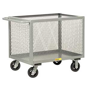 "4-Sided Mesh Box Truck - Low Profile, 24"" x 48"" Deck, 6"" Rubber Casters"