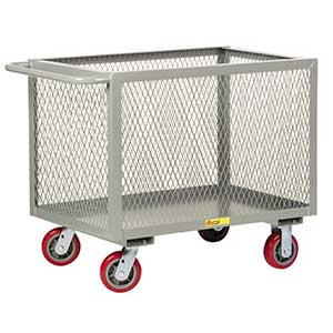 "4-Sided Mesh Box Truck - Low Profile, 24"" x 48"" Deck, 6"" Poly Casters"