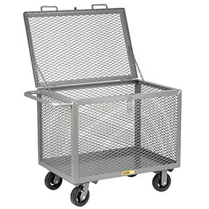 "4-Sided Mesh Box Truck - Low Profile with Lid, 24"" x 48"" Deck, 6"" Rubber Casters"