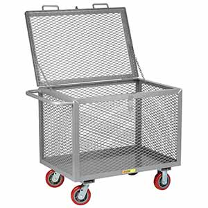"4-Sided Mesh Box Truck - Low Profile with Lid, 24"" x 48"" Deck, 6"" Poly Casters"