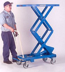 Mobile Lift Table, Double Scissor, 20.4 x 39.8 Platform, 62.1 in. Raised Height, 660 lbs. cap.
