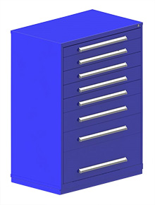 "Rack Engineering Modular Cabinet with (1) 3-7/8"", (4) 5-7/16"", (2) 7-13/16"", (1) 12-5/8"" Drawers - 45""W x 27-3/4""D x 61-1/8""H"