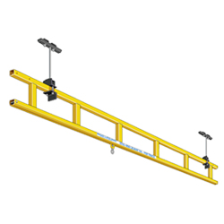 "Ceiling Mounted Tie-Off Anchor, Trussed Single Track, 1 Person Cap., 53'L x 12-3/8""H"