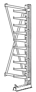 "Cantilever Rack, Med. Duty, 10'H x 6'W - Adder, (10) 20"" Inclined Arms,  850 Lbs. Cap."