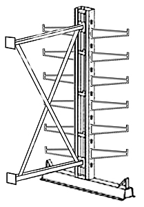 "Cantilever Rack, Med. Duty, 7'H x 6'W - Adder, (12) 12"" Straight Arms,  1000 Lbs. Cap."