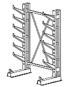 "Cantilever Rack, Med. Duty, 7'H x 6'W - Starter, (12) 16"" Inclined Arms,  1000 Lbs. Cap."