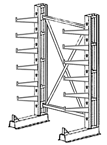 "Cantilever Rack, Med. Duty, 7'H x 6'W - Starter, (12) 16"" Straight Arms,  1000 Lbs. Cap."