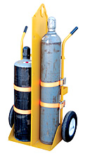 Welding Torch Cylinder Cart - Basic w/ Foam-Filled Wheels, Overhead Lift Eye, Fire Coating