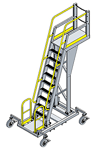 Mobile Cantilever Work Platform - 6 Sq.Ft., 11'H Deck