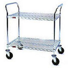 "Medium Duty Utility Cart with 2 shelves and 4"" resilient rubber casters - 36""w x 18""d x 40""h"