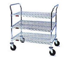 "Medium Duty Utility Cart with 3 shelves and 4"" resilient rubber casters - 30""w x 18""d x 40""h"