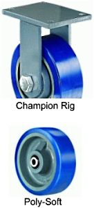 "Champion  Rigid Caster - 6"" x 3"" Poly-Soft Wheel, 1800 lbs Cap., Ball Bearing"