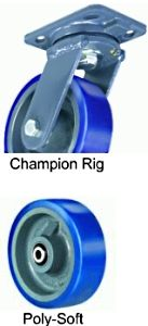"Champion  Swivel Caster - 8"" x 3"" Poly-Soft Wheel, 2000 lbs Cap., Tapered Bearing"