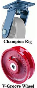 "Champion Rigid Caster - 6"" x 2-3/4"" V-Grooved Wheel, 2500 lb. Cap., Roller Bearing"