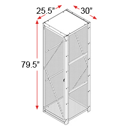 "Employee Dispatch Wire Locker, 30""x25.5""x79.5"" w/ 1 Front Door & 1 Back Door"