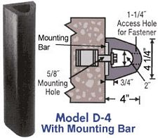 "Extruded Dock Bumper With Mounting Bar - 4""D x 4-1/4""H x 5'L"