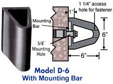 "Extruded Dock Bumper With Mounting Bar - 6""D x 6""H x 9'L"