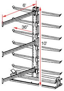"Cantilever Rack, Extra Heavy Duty - Adder - 36"" Arms - 12 Arms, 1300 Lbs. Cap."