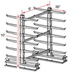 "Cantilever Rack, Extra Heavy Duty - Starter - 36"" Arms - 24 Arms, 1300 Lbs. Cap."