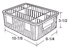 "Dividable Grid Containers - 10-7/8"" x 8-1/4"" x 3-1/2"", Carton of 20"