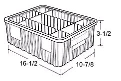 "Dividable Grid Containers - 16-1/2"" x 10-7/8"" x 3-1/2"", Carton of 12"