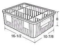 "Dividable Grid Containers - 16-1/2"" x 10-7/8"" x 8"", Carton of 8"