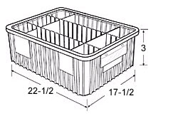 "Dividable Grid Containers - 22-1/2"" x 17-1/2"" x 3"", Carton of 6"