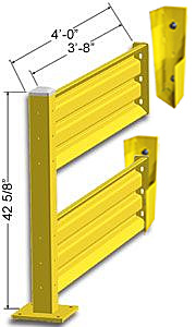 Lift-Out Steel Guard Rail - Double High Adder at 48 inch Post centers