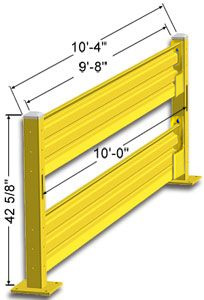 Lift-Out Steel Guard Rail - Double High Starter at 120 inch Post centers