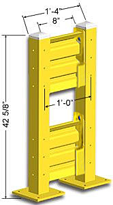 Lift-Out Steel Guard Rail - Double High Starter at 12 inch Post centers