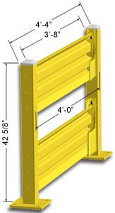 Lift-Out Steel Guard Rail - Double High Starter at 48 inch Post centers
