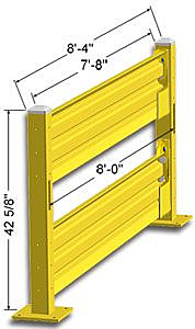 Lift-Out Steel Guard Rail - Double High Starter at 96 inch Post centers