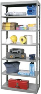 "Hallowell Full-Access Open Shelving - 12"" deep x 36"" wide w/ 2 Fixed & 5 Adjustable Shelves"