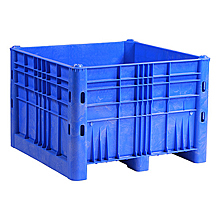 "Box Pallet Container - 44""W x 44""D x 31""H, Solid Sides, Blue"