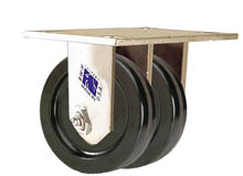 "65 Series Rigid Dual Caster with 4"" x 1-1/2"" Phenolic Wheel and 1,200 lb. Capacity"