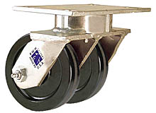 "65 Series Swivel Dual Caster - 4"" x 1-1/2"" Phenolic Wheels - 1,200 lb. Cap."