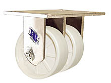 "65 Series Rigid Dual Caster with 4"" x 1-1/2"" Urethane Solid Wheel and 600 lb. Capacity"