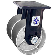 "75 Series Rigid Dual Caster with 6"" x 2"" Cast Iron Wheel and 2,400 lb. Capacity"