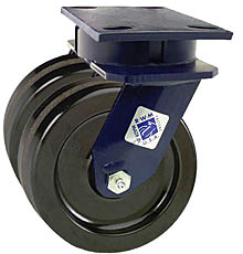 "75 Series Swivel Dual Caster - 6"" x 2"" Phenolic Wheels - 2,400 lb. Cap."