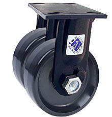 "75 Series Rigid Dual Caster with 6"" x 2"" Solid Urethane Wheel and 2,400 lb. Capacity"
