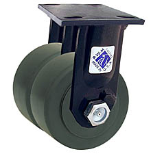 "75 Series Rigid Dual Caster - 8"" x 2"" Nylon Wheels - 6,000 lb. Cap."